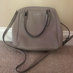 Light Grey Leather Coach Handbag Purse Medium